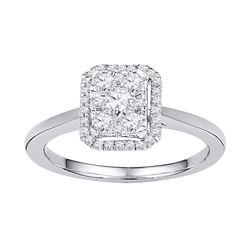 0.33 CTW Diamond Square Cluster Ring 10KT White Gold - REF-30K2W