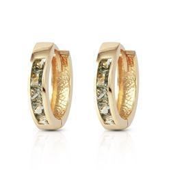 Genuine 1.30 ctw Sapphire Earrings Jewelry 14KT Yellow Gold - REF-42N2R