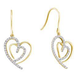 0.40 CTW Diamond Heart Love Dangle Wire Earrings 10KT Yellow Gold - REF-41X9Y