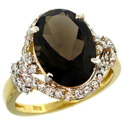 Natural 5.89 ctw smoky-topaz & Diamond Engagement Ring 14K Yellow Gold - REF-88G8M