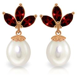 Genuine 9.5 ctw Garnet & Pearl Earrings Jewelry 14KT Rose Gold - REF-31A2K