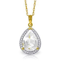 Genuine 5.61 ctw White Topaz & Diamond Necklace Jewelry 14KT Yellow Gold - REF-71Y5F