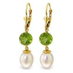 Genuine 11.10 ctw Pearl & Peridot Earrings Jewelry 14KT Yellow Gold - REF-26A6K