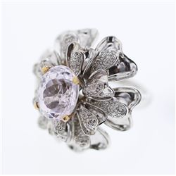 5.79 CTW Kunzite & Diamond Ring 18K 2Tone Gold - REF-186W2H