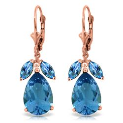 Genuine 13 ctw Blue Topaz Earrings Jewelry 14KT Rose Gold - REF-61K2V