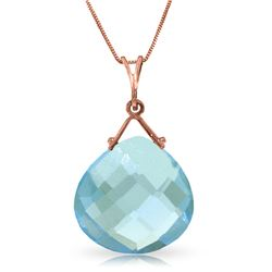 Genuine 8.5 ctw Blue Topaz Necklace Jewelry 14KT Rose Gold - REF-26X9M