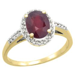 Natural 1.6 ctw Ruby & Diamond Engagement Ring 10K Yellow Gold - REF-39F9N