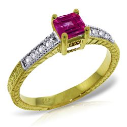 Genuine 0.65 ctw Pink Topaz & Diamond Ring Jewelry 14KT Yellow Gold - REF-69X6M