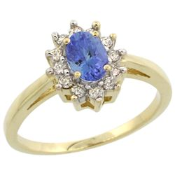 Natural 0.67 ctw Tanzanite & Diamond Engagement Ring 14K Yellow Gold - REF-49G9M