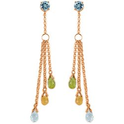 Genuine 5.75 ctw Blue Topaz Earrings Jewelry 14KT Rose Gold - REF-45X2M