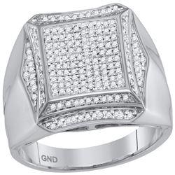 0.50 CTW Mens Prong-set Diamond Square Cluster Ring 10KT White Gold - REF-75W2K