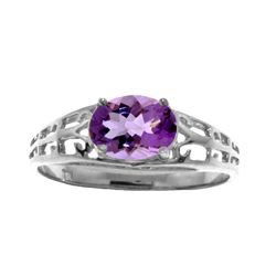 Genuine 1.15 ctw Amethyst Ring Jewelry 14KT White Gold - REF-32X3M