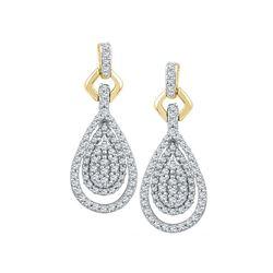 0.50 CTW Diamond Teardrop Dangle Earrings 10KT Yellow Gold - REF-40H4M