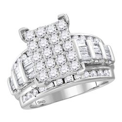 3.02 CTW Diamond Cluster Bridal Engagement Ring 10KT White Gold - REF-240W2K