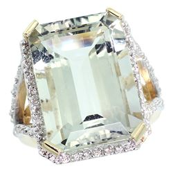 Natural 13.72 ctw green-amethyst & Diamond Engagement Ring 10K Yellow Gold - REF-65H2W