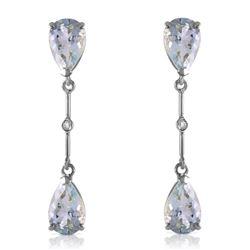 Genuine 6.01 ctw Aquamarine & Diamond Earrings Jewelry 14KT White Gold - REF-50P2H