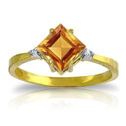 Genuine 1.77 ctw Citrine & Diamond Ring Jewelry 14KT Yellow Gold - REF-28F8Z