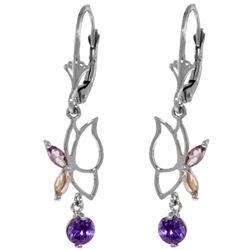 Genuine 0.80 ctw Amethyst Earrings Jewelry 14KT White Gold - REF-38N2R