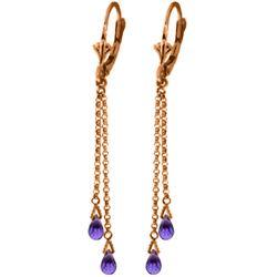Genuine 2.5 ctw Amethyst Earrings Jewelry 14KT Rose Gold - REF-29K7V