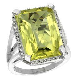 Natural 15.06 ctw Lemon-quartz & Diamond Engagement Ring 10K White Gold - REF-57K2R