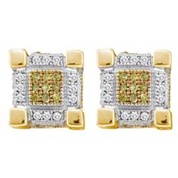 0.29 CTW Mens Yellow Color Diamond 3D Cube Stud Earrings 10KT Yellow Gold - REF-26H9M