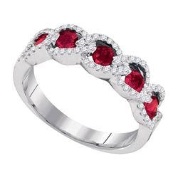 0.79 CTW Ruby Diamond Outline Ring 14KT White Gold - REF-75M2H