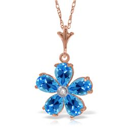 Genuine 2.22 ctw Blue Topaz & Diamond Necklace Jewelry 14KT Rose Gold - REF-30P2H