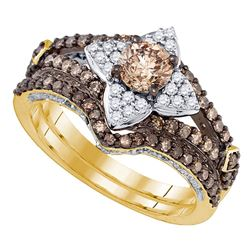 1.33 CTW Cognac-brown Color Diamond Bridal Ring 14KT Yellow Gold - REF-127H4M