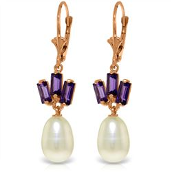 Genuine 9.35 ctw Pearl & Amethyst Earrings Jewelry 14KT Rose Gold - REF-26H6X