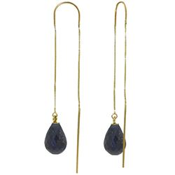 Genuine 6.6 ctw Sapphire Earrings Jewelry 14KT Yellow Gold - REF-20Z8N