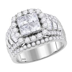 2.99 CTW Princess Diamond Cluster Bridal Engagement Ring 14KT White Gold - REF-344X9Y