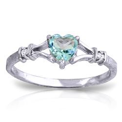 Genuine 0.47 ctw Blue Topaz & Diamond Ring Jewelry 14KT White Gold - REF-27F2Z