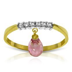 Genuine 1.45 ctw Pink Topaz & Diamond Ring Jewelry 14KT Yellow Gold - REF-34F6Z