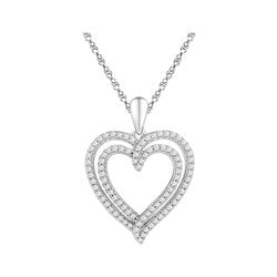 0.50 CTW Diamond Double Heart Pendant 10KT White Gold - REF-32Y9X