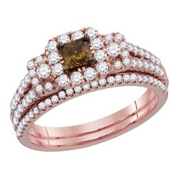 1.07 CTW Cognac-brown Diamond Princess Halo Bridal Ring 14KT Rose Gold - REF-124W4K