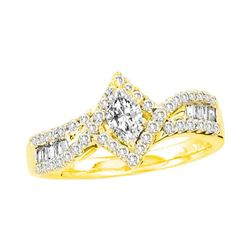 0.75 CTW Marquise Diamond Solitaire Bridal Engagement Ring 14KT Yellow Gold - REF-119H9M