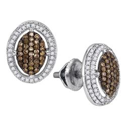0.55 CTW Cognac-brown Color Diamond Oval Cluster Earrings 10KT White Gold - REF-36H2M