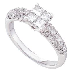 1 CTW Princess Diamond Cluster Bridal Engagement Ring 14KT White Gold - REF-124K4W