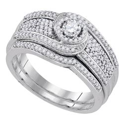 0.50 CTW Diamond Swirl Bridal Engagement Ring 10KT White Gold - REF-67Y4X