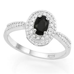 ***NEW*** RING - CHARMING ! 3/5 CARAT SAPPHIRE & DIAMOND IN 925 STERLING SILVER SETTING - SZ 7 - INC
