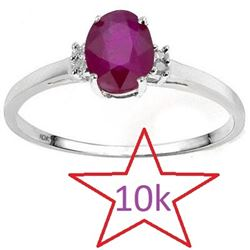 *** NEW*** RING - LOVELY 0.55 CT AFRICAN RUBY & 4PCS GENUINE DIAMOND IN 10K SOLID WHITE GOLD SETTING