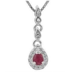 ***NEW*** PENDANT - 1/6 CARAT GENUINE RUBY & DIAMONDS IN 925 STERLING SILVER SETTING - INCLUDES CERT