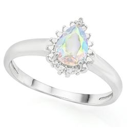 RING - 2/3 CARAT MERCURY MYSTIC TOPAZ & DIAMOND IN 925 STERLING SILVER SETTING - SZ 8 - RETAIL ESTIM