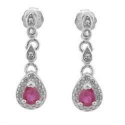 ***NEW*** EARRINGS - PRECIOUS 1/3 CARAT GENUINE RUBY & DIAMONDS IN 925 STERLING SILVER SETTING - INC
