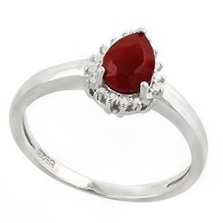 RING - 3/4 CARAT ENHANCED GENUINE RUBY & DIAMOND IN 925 STERLING SILVER SETTING - SZ 7 - RETAIL ESTI