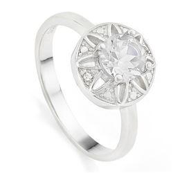 RING - 4/5 CARAT WHITE TOPAZ & GENUINE DIAMONDS IN 925 STERLING SILVER SETTING - SZ 8 - RETAIL ESTIM