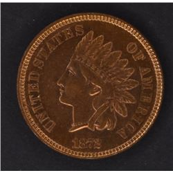 1872 INDIAN CENT, CH BU SOME RED