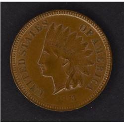 1873 INDIAN CENT, CH BU+ NICE!