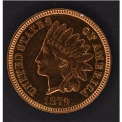 1879 INDIAN CENT, GEM BU A LOT OF RED