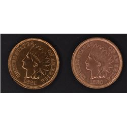 1880 & 81 INDIAN CENTS, BU